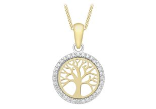 Preview image of 9ct Gold 18'' CZ Set Tree of Life Pendant