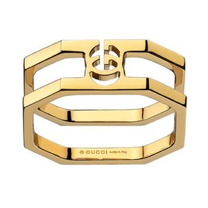Preview image of Gucci 18ct Yellow Gold Running G Double Layer Ring Size 12
