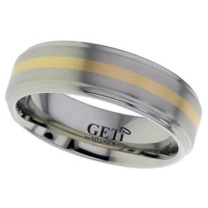 Preview image of Titanium & Rose Gold 7mm Gents Wedding Ring