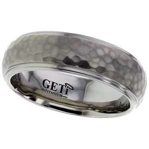 Preview image of Titanium 7mm Hammered Gents Wedding Ring