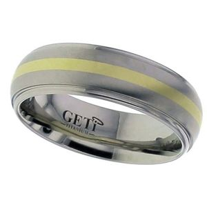 Preview image of Titanium & Gold 7mm Gents Wedding Ring