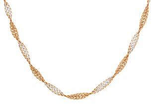 Preview image of 9ct Rose and White Gold 18'' Twisted Curb Necklace
