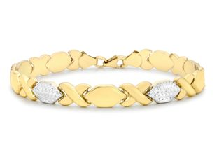 Preview image of 9ct 2 Colour Gold Hugs and Kisses Link Bracelet