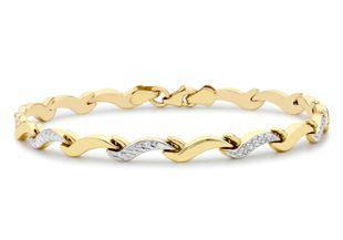 Preview image of 9ct 2 Colour Gold Wave Link Bracelet