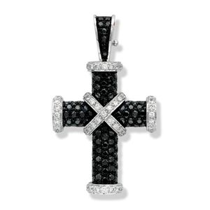 Preview image of 18ct White Gold 1.58ct Black Diamond & 0.58ct White Diamond Accent Baby Cross Pendant