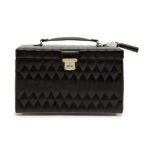 Preview image of WOLF Caroline Black Leather Large Jewellery Case