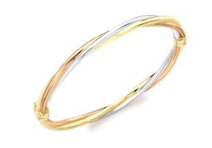 Preview image of 9ct Gold Tri-Colour Twist Ladies Bangle