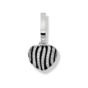 Preview image of 18ct White Gold 0.20ct Diamond & Enamel Zebra 'art Charm