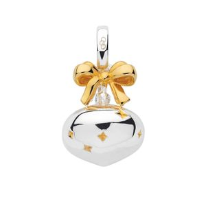 Preview image of Sterling Silver & 18kt Yellow Gold Vermeil Festive Bauble Charm