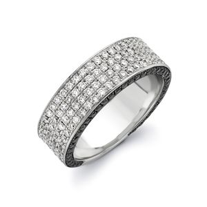 Preview image of 18ct White Gold Black 1.45ct White & Black Diamond Flat Spangle Ring