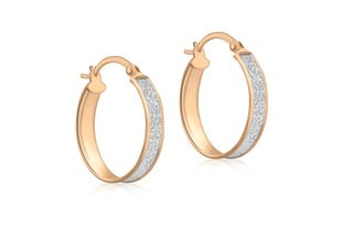 Preview image of 9ct Rose Gold Stardust Creole Hoop Earrings