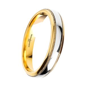 Preview image of 18ct Yellow & White Gold Polished 3mm Beaded Ladies Wedding Ring