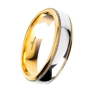 Preview image of 18ct Yellow & White Gold Polished 5mm Beaded Gents Wedding Ring