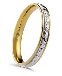 Preview image of 9ct White and Yellow Gold 3mm Sparkle Cut Ladies Wedding Ring