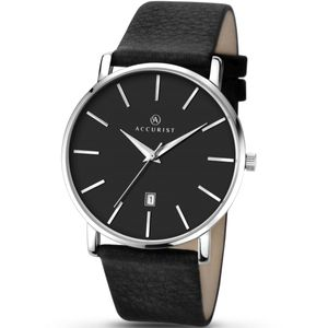 Preview image of Accurist Black Leather Strap Baton Gents  Watch