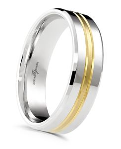 Preview image of Palladium & 9ct Yellow Gold 6mm Gents Fuse Wedding Ring
