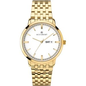 Preview image of Accurist Classic White Dial Yellow Gold Plated Mens  Watch