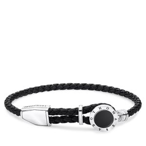 Preview image of Thomas Sabo Black Plaited Onyx Disc Bracelet