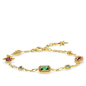 Preview image of Thomas Sabo Large Colourful Stones and Stars Yellow Gold Plated Bracelet