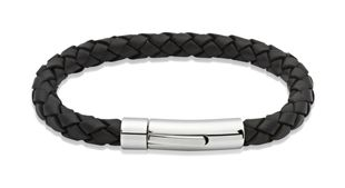 Preview image of Unique Black Leather Bracelet with Steel Push Clasp