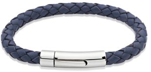 Preview image of Unique Blue Leather Bracelet with Polished Steel Push Clasp