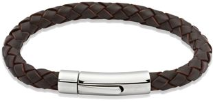 Preview image of Unique Dark Brown Leather Bracelet with Polished Steel Push Clasp