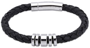 Preview image of Unique Black Leather Bracelet with Polished Steel Push Clasp