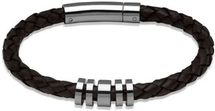 Preview image of Unique Dark Brown Leather Bracelet with Polished Steel Disc Feature