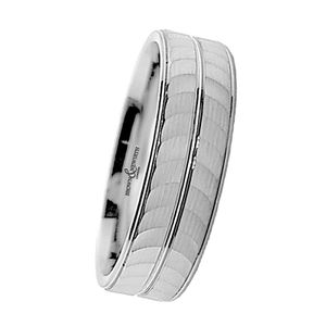 Preview image of 9ct White Gold 6mm Machined Centre Gents Wedding Ring
