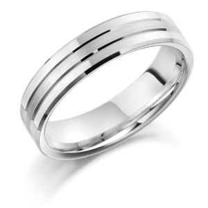 Preview image of Mens Palladium 950 6mm Brushed Centre with Bevelled Polished Edge Wedding Ring