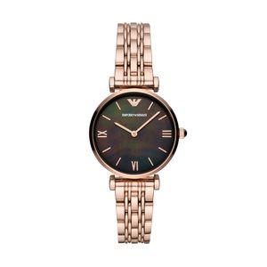 Preview image of Emporio Armani Rose Gold & Black Mother of Pearl Ladies Bracelet Watch