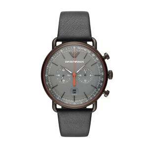 Preview image of Emporio Armani Grey Leather Strap Gents Chronograph Watch
