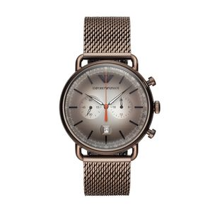Preview image of Emporio Armani Aviator Chocolate Brown Chronograph Gents Bracelet Watch