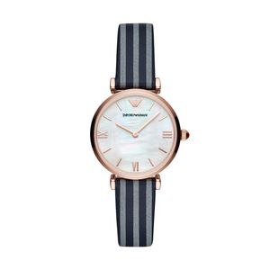 Preview image of Emporio Armani Rose Gold Plated Blue and White Stripe Leather Strap Watch