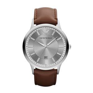 Preview image of Emporio Armani Renato Silver & Brown Leather Strap Watch