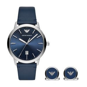 Preview image of Emporio Armani Men's Ruggero Cufflinks & Strap Watch Gift Set