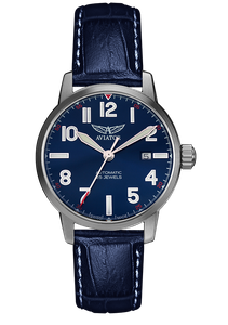 Preview image of Aviator Airacobra Automatic Blue Dial Blue Strap Gents Watch