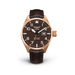 Preview image of Aviator Airacobra P42 RGP Brown dial gents Strap Watch