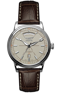 Preview image of Aviator Douglas Day Date Automatic Gents Ivory Strap Watch