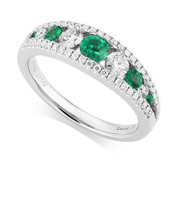 Preview image of 18CT WHITE GOLD EMERALD .32 & DIAMOND .47 TAPERED BAND RING