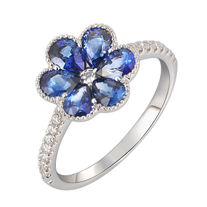 Preview image of 18CT WHITE GOLD SAPPHIRE 1.77 & DIAMOND .21 FLOWER CLUSTER RING