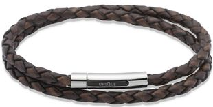Preview image of Unique Antique Brown Double Leather Bracelet with Steel Push Clasp