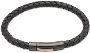 Preview image of Unique Black Leather Bracelet with Rose and Black Steel Push Clasp