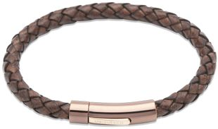 Preview image of Unique Antique Dark Brown Leather Bracelet with Rose Steel Push Clasp