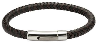 Preview image of Unique Black and Dark Brown Plaited Leather Bracelet With Polished Steel Clasp