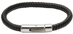 Preview image of Unique Black Plaited Leather Bracelet with Steel Gun Metal Clasp