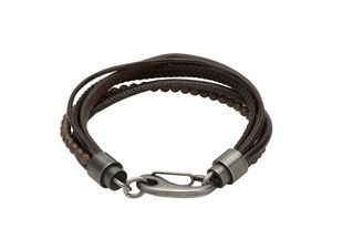Preview image of Unique Dark Brown Beaded Leather Gents Bracelet