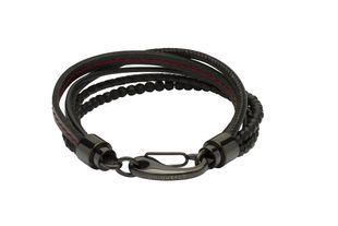 Preview image of Unique Black Bead Leather Gents Bracelet