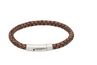 Preview image of Unique Antique Brown Plaited Leather Bracelet with Polished Steel Clasp