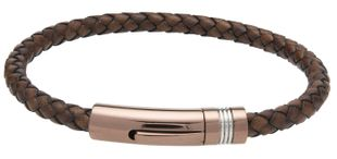 Preview image of Unique Brown Braided Leather Bracelet With Antique Clasp.